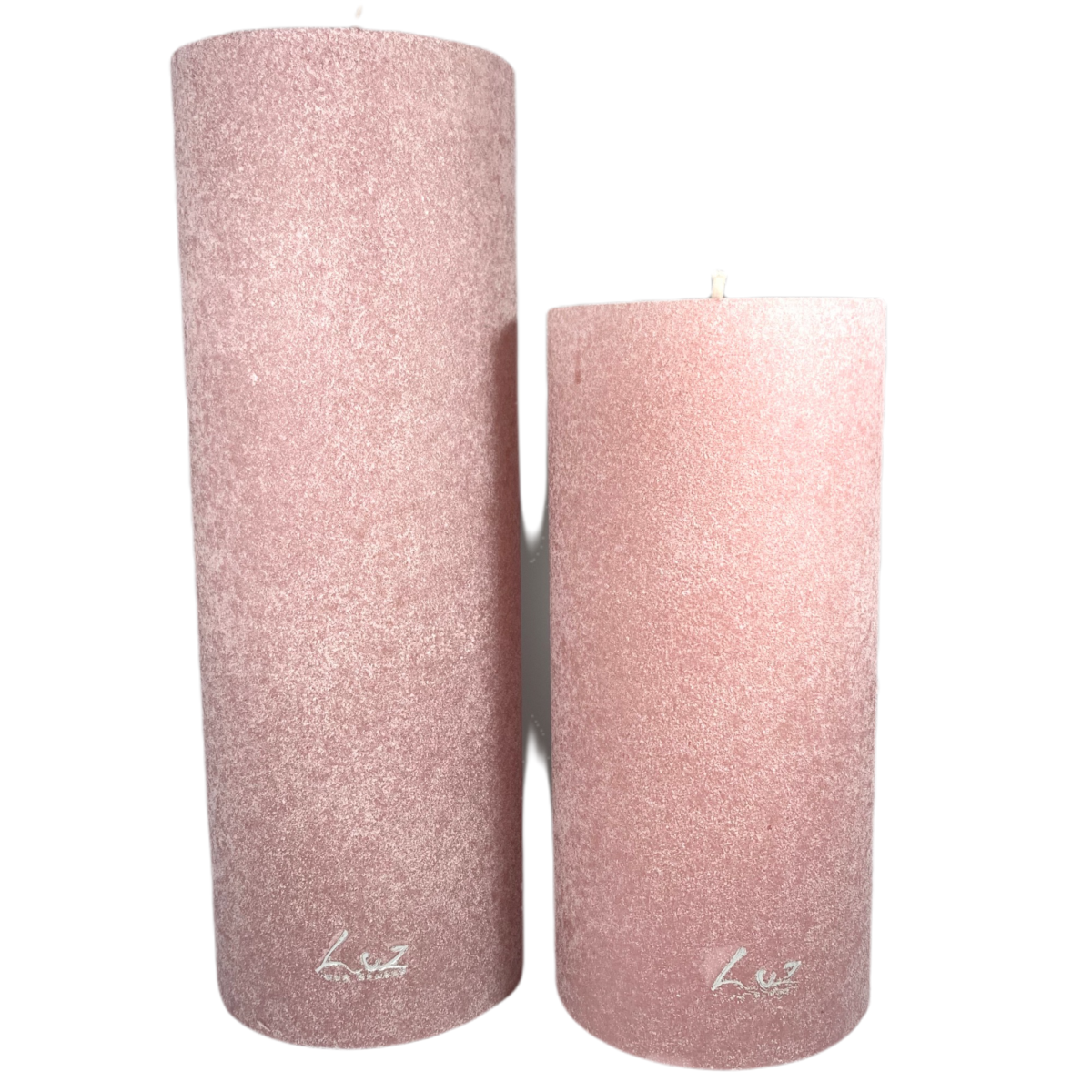 by destele bougie cylindre velours rose