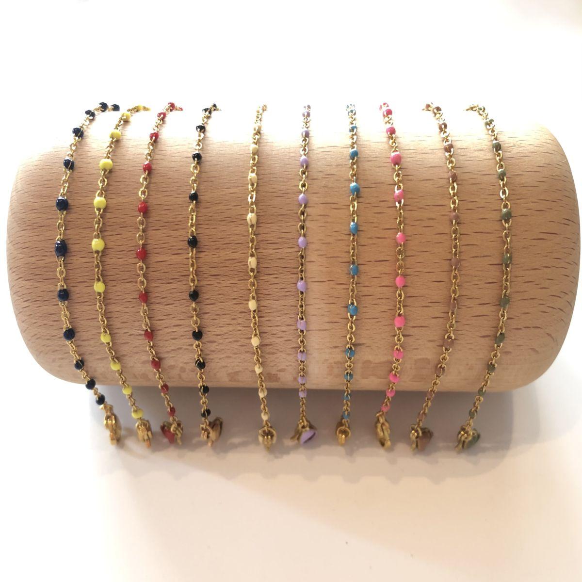 bracelet chaine dorée mini perles couleur by destele