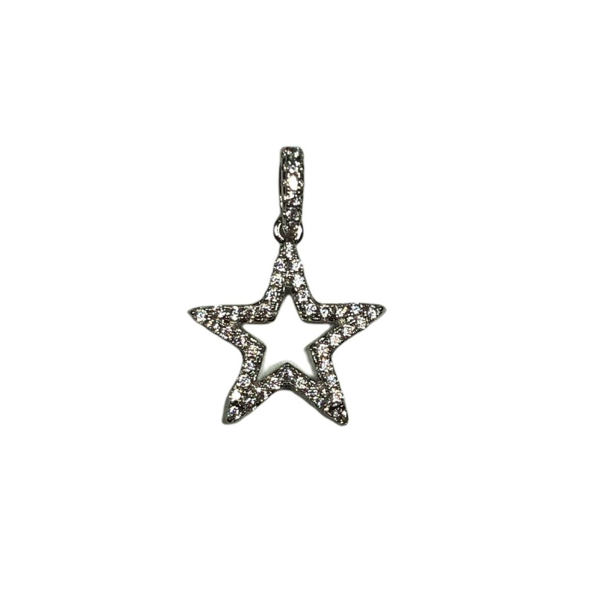 by destele pendentif étoile strass argente