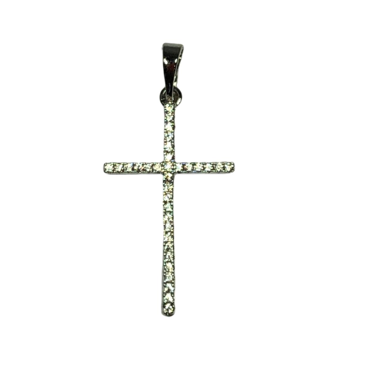 by destele pendentif croix strass argente