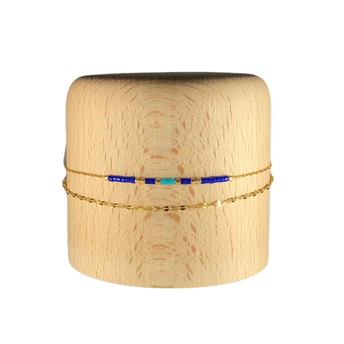 by destele bracelet colette double chaine bleu et turquoise