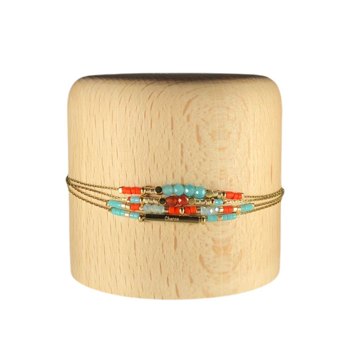 by destele bracelet zoé quadruple chaine turquoise