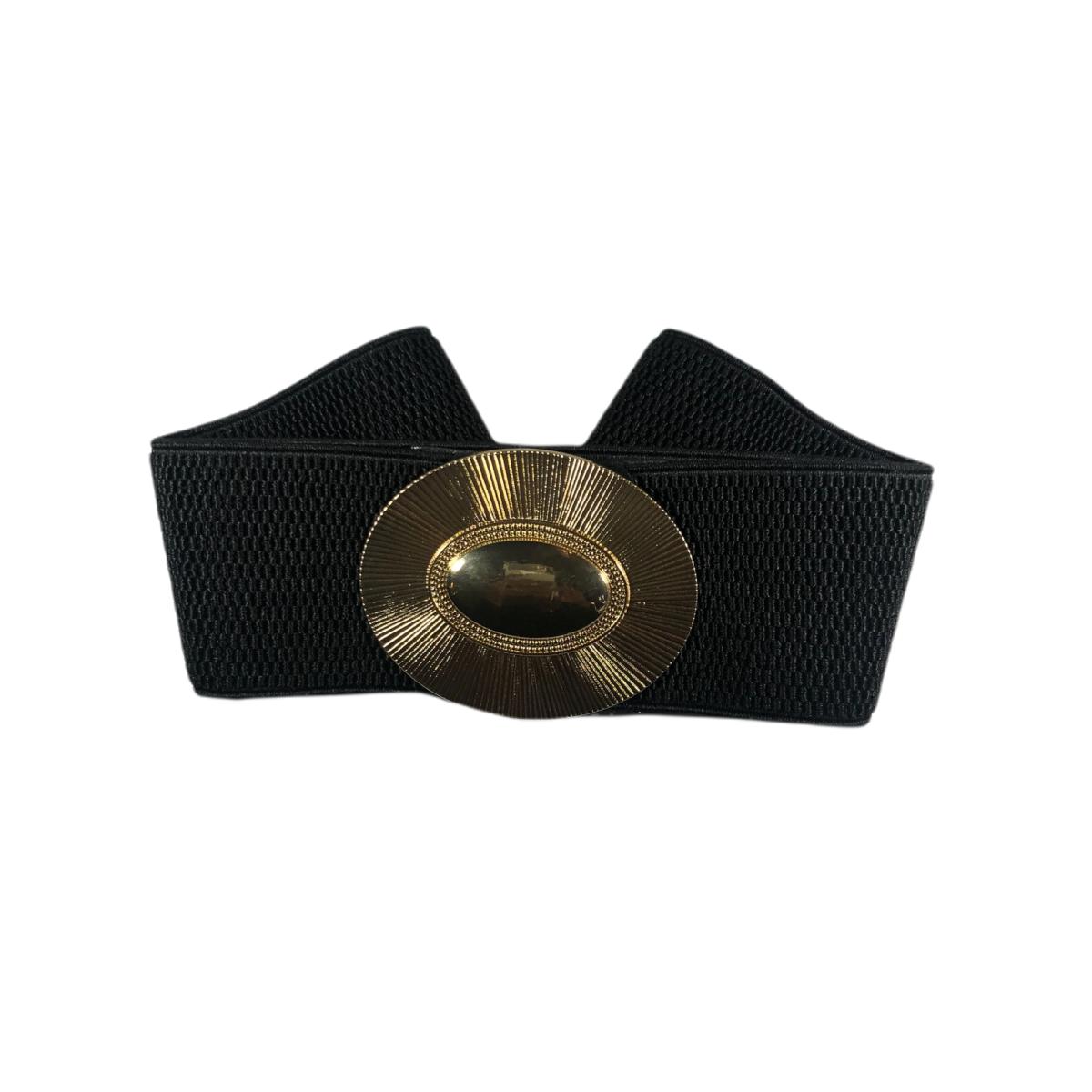 by destele ceinture noire élastique boucle dorée