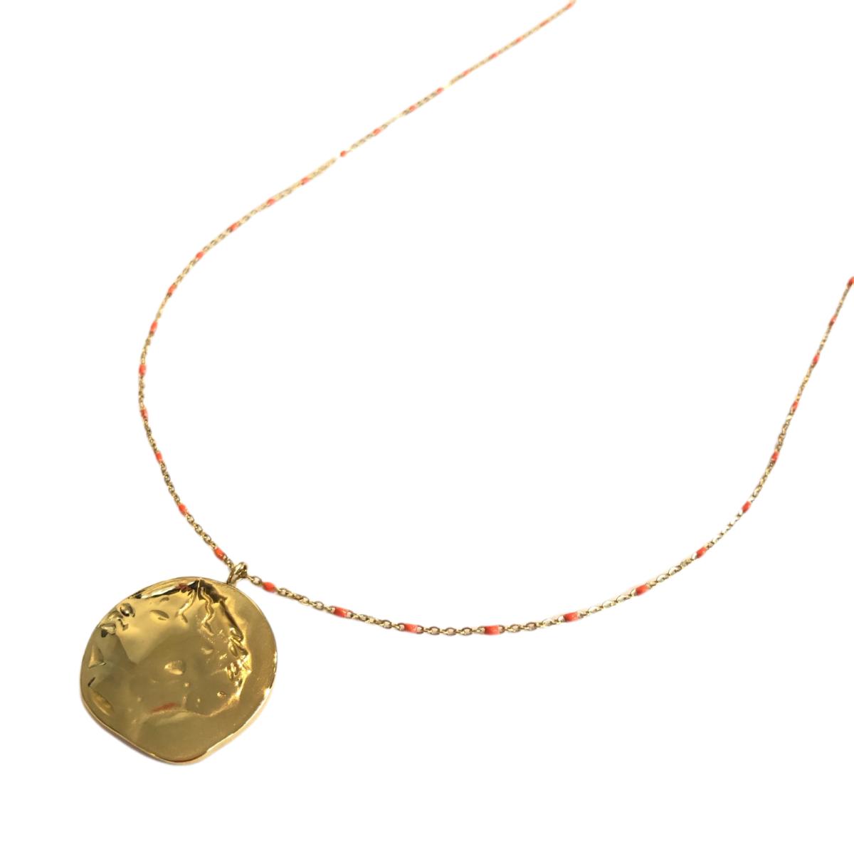 By Destele sautoir fine chaîne mini perles et pendentif