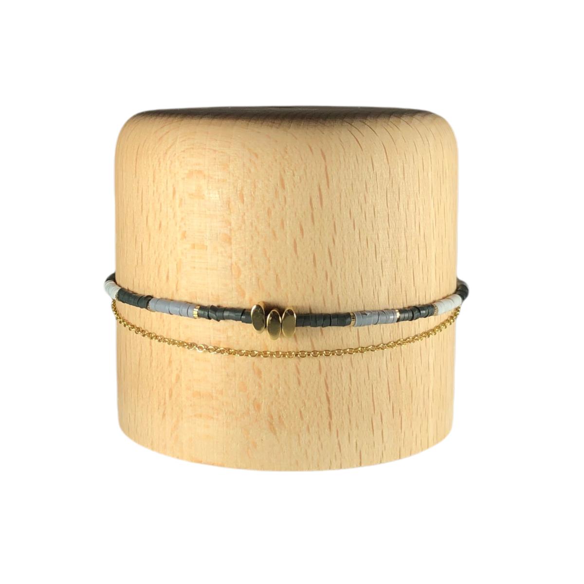 by destele bracelet victoire perles noir et gris