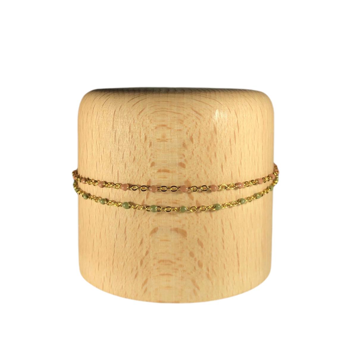 by destele bracelet agathe double rang chaines mini perles