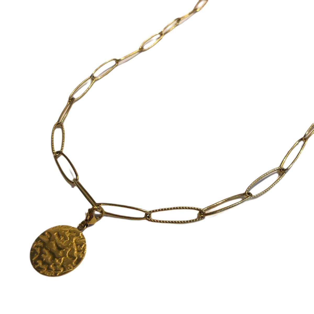 By Destele collier chaîne gros maillon et son pendentif
