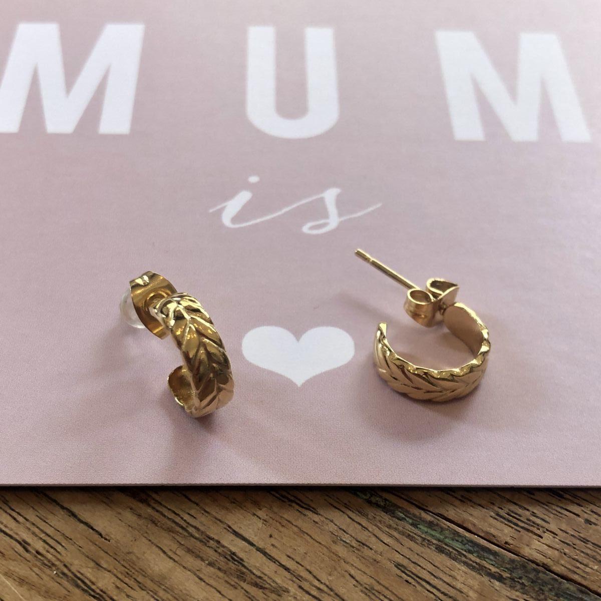 boucles d'oreilles puces d'oreilles mini créoles feuilles dorées by destele