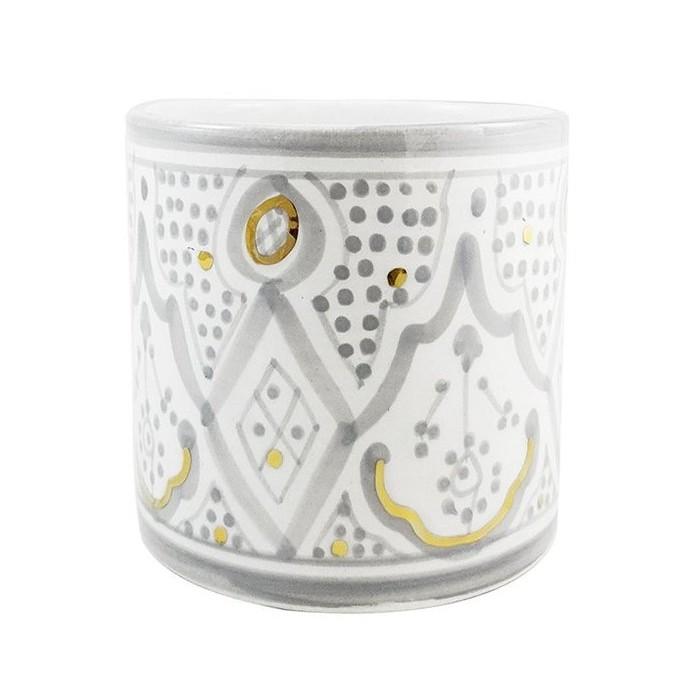 By Destele vase pot gris motifs marocains