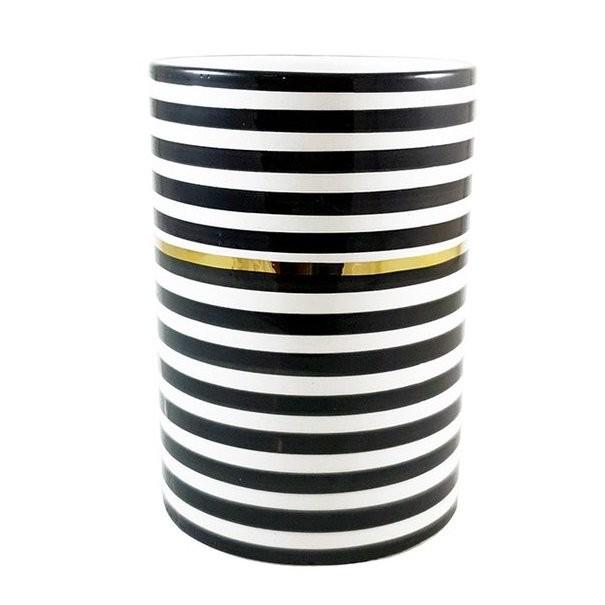 By Destele vase pot noir rayures