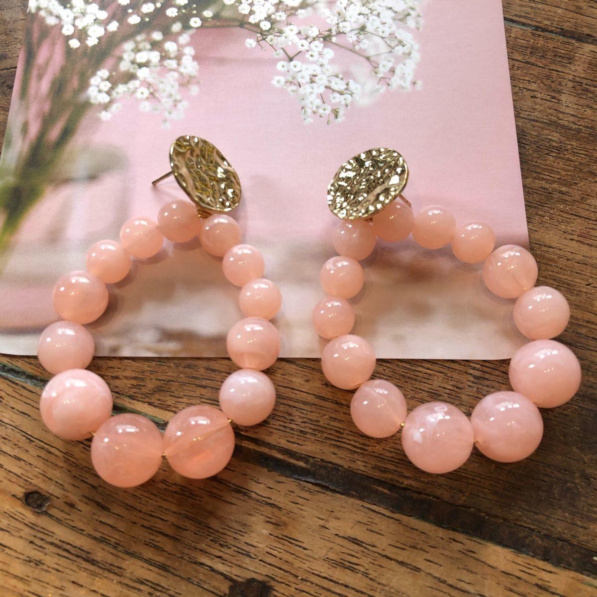Boucles d'oreilles perles rondes roses by Destele