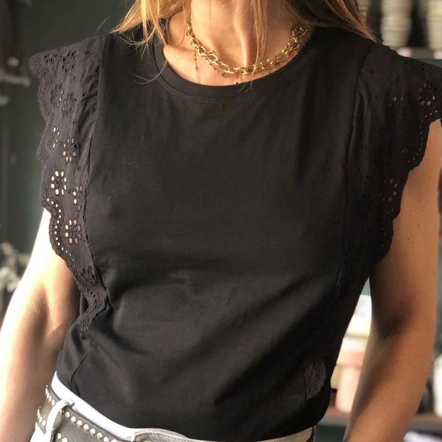 teeshirt noir dentelles by destele