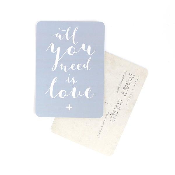 By Destele cinq mai carte postale gris bleu message all you need is love