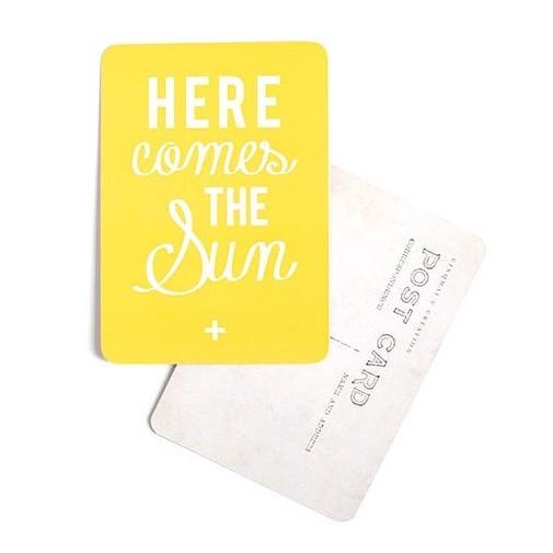 by destele cinq mai carte postale jaune message here comes the sun