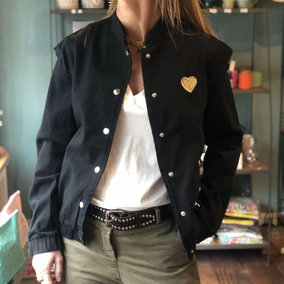 veste noire coeur doré by destele