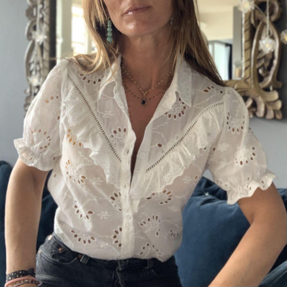 chemise blanche bohème brodée manches courtes by destele