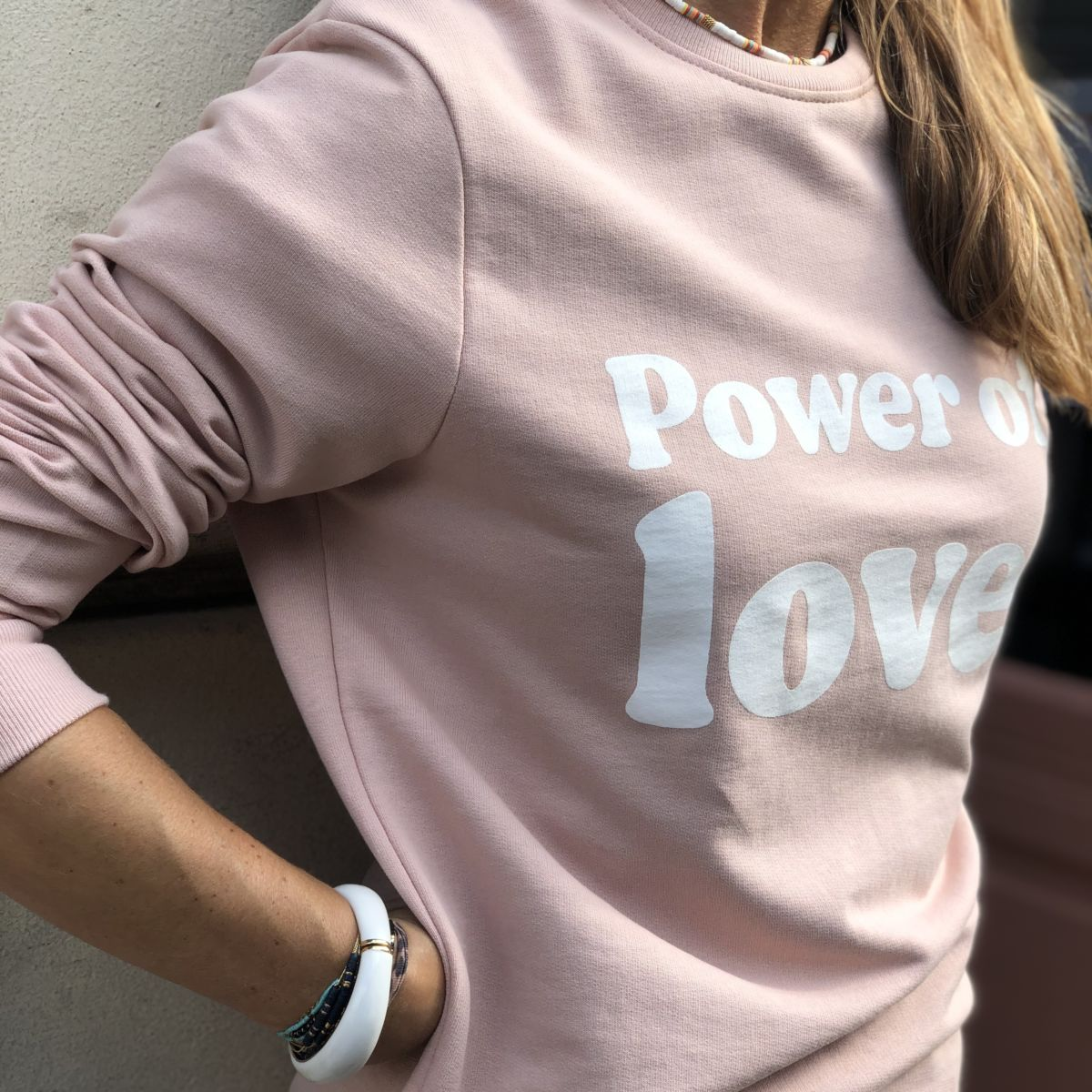 sweat rose message power of love blanc col rond by destele