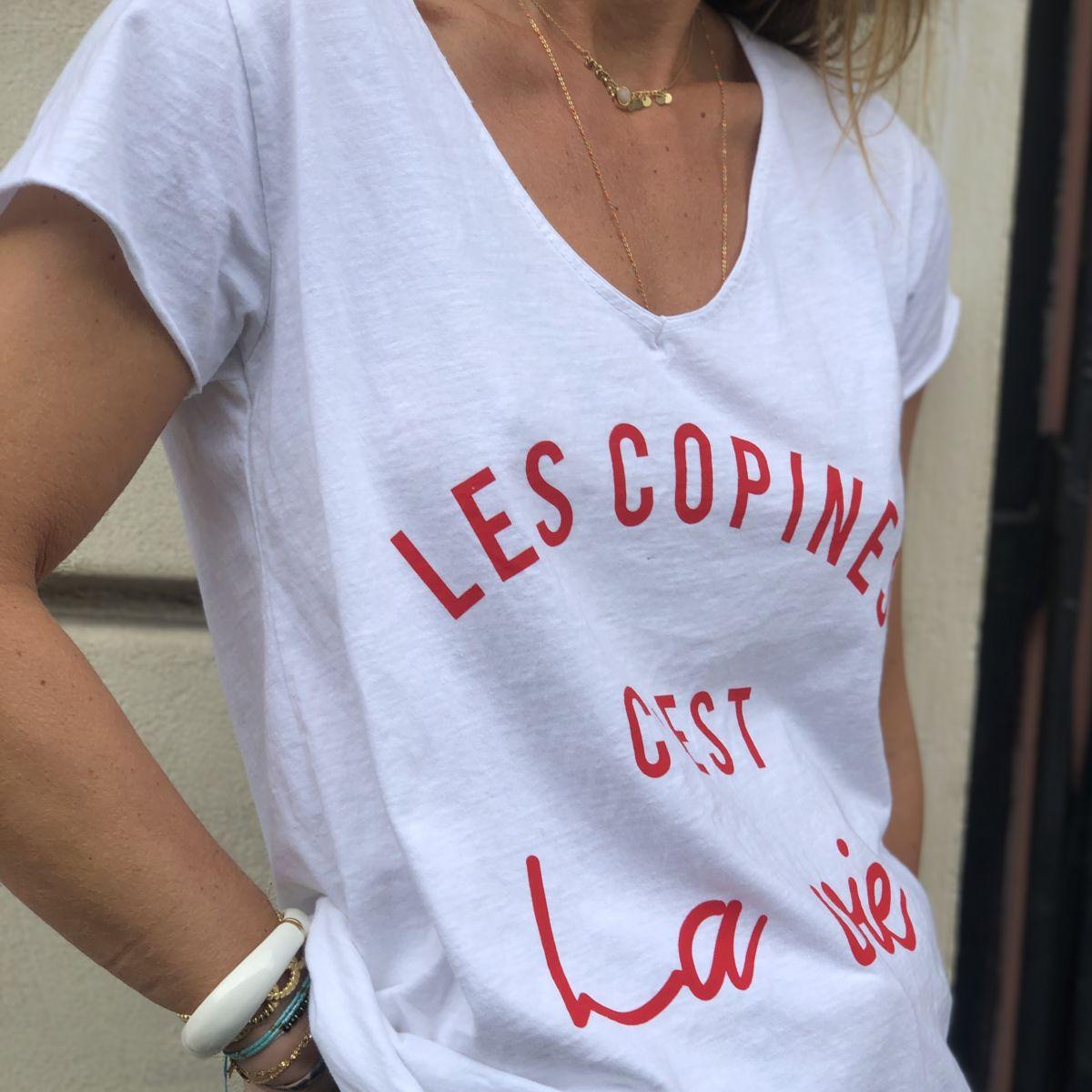 Tee shirt blanc message les copines c'est la vie rouge col V manches courtes by Destele