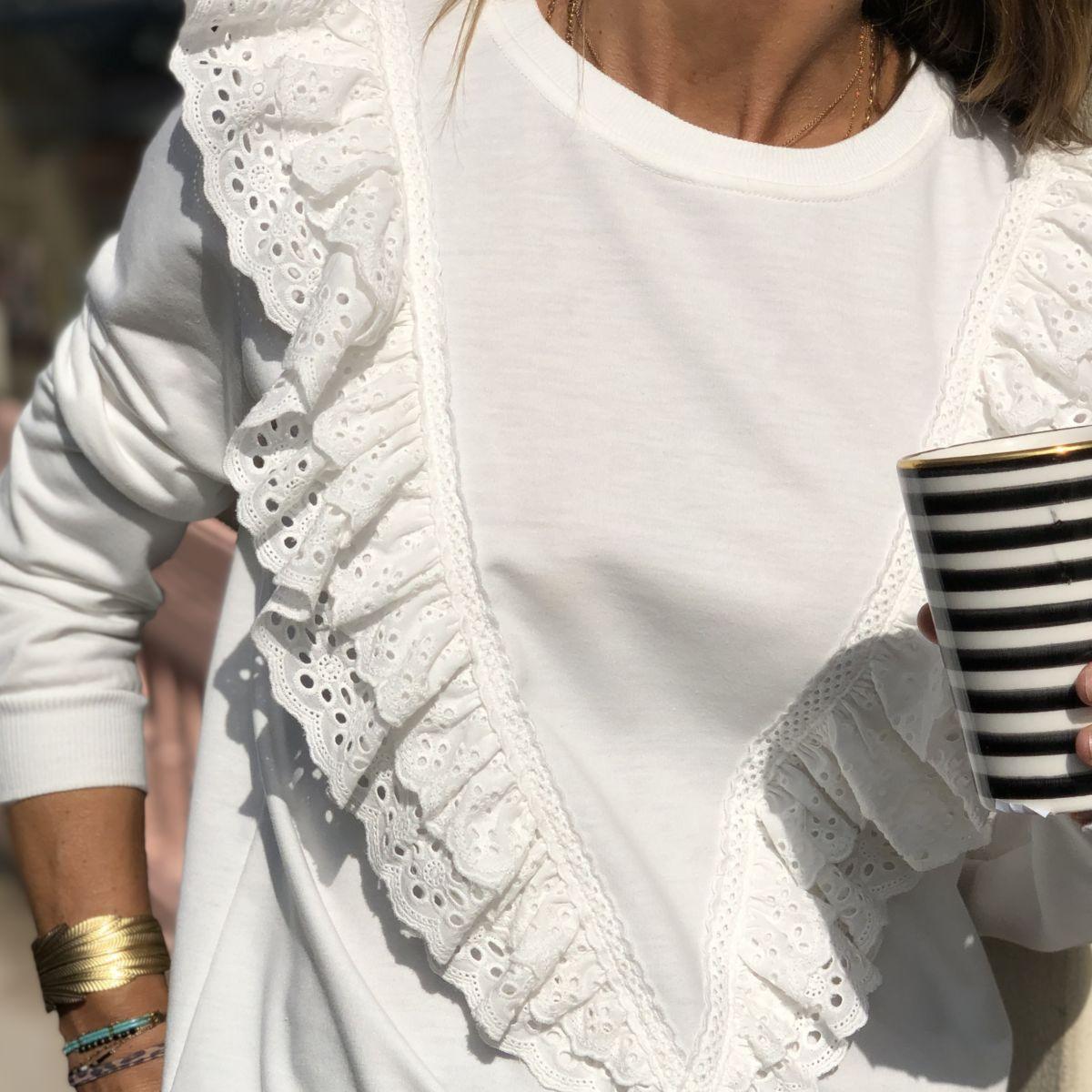 Sweat blanc volants blanc manches longues by Destele