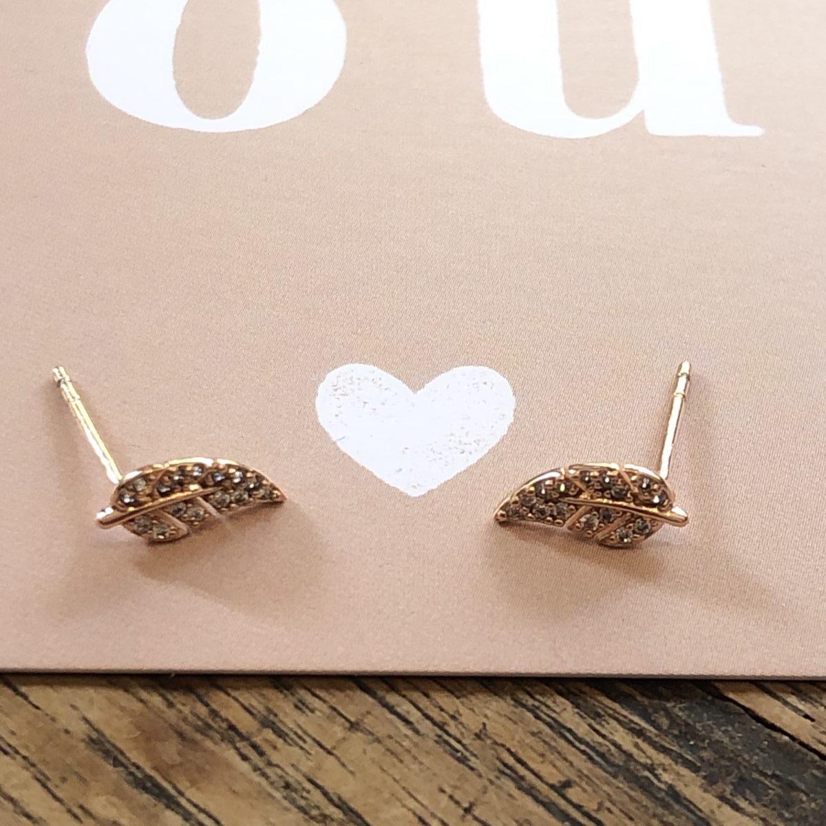 boucles d'oreilles puces d'oreilles dorée strass feuilles by destele