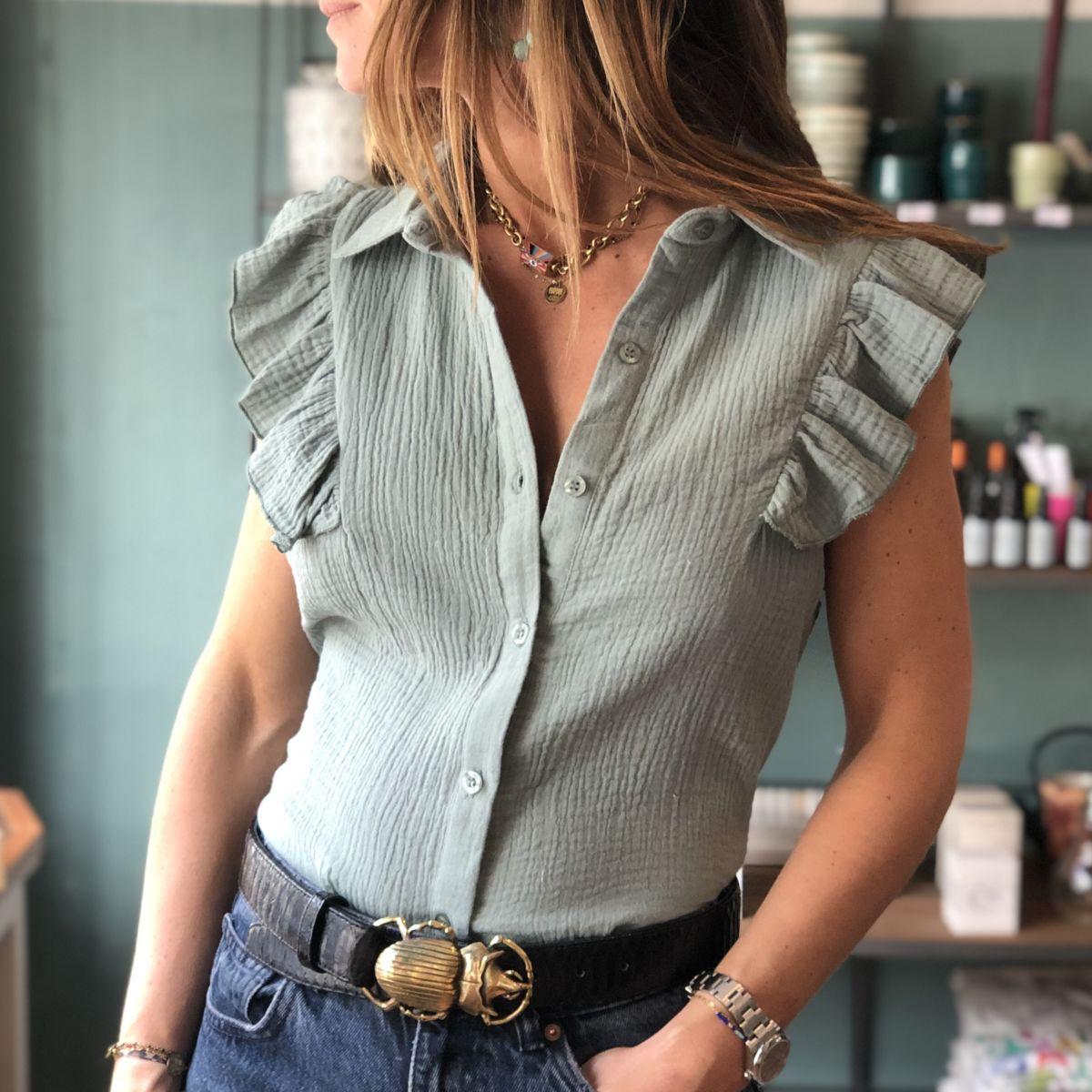 chemise gaze de coton vert by destele