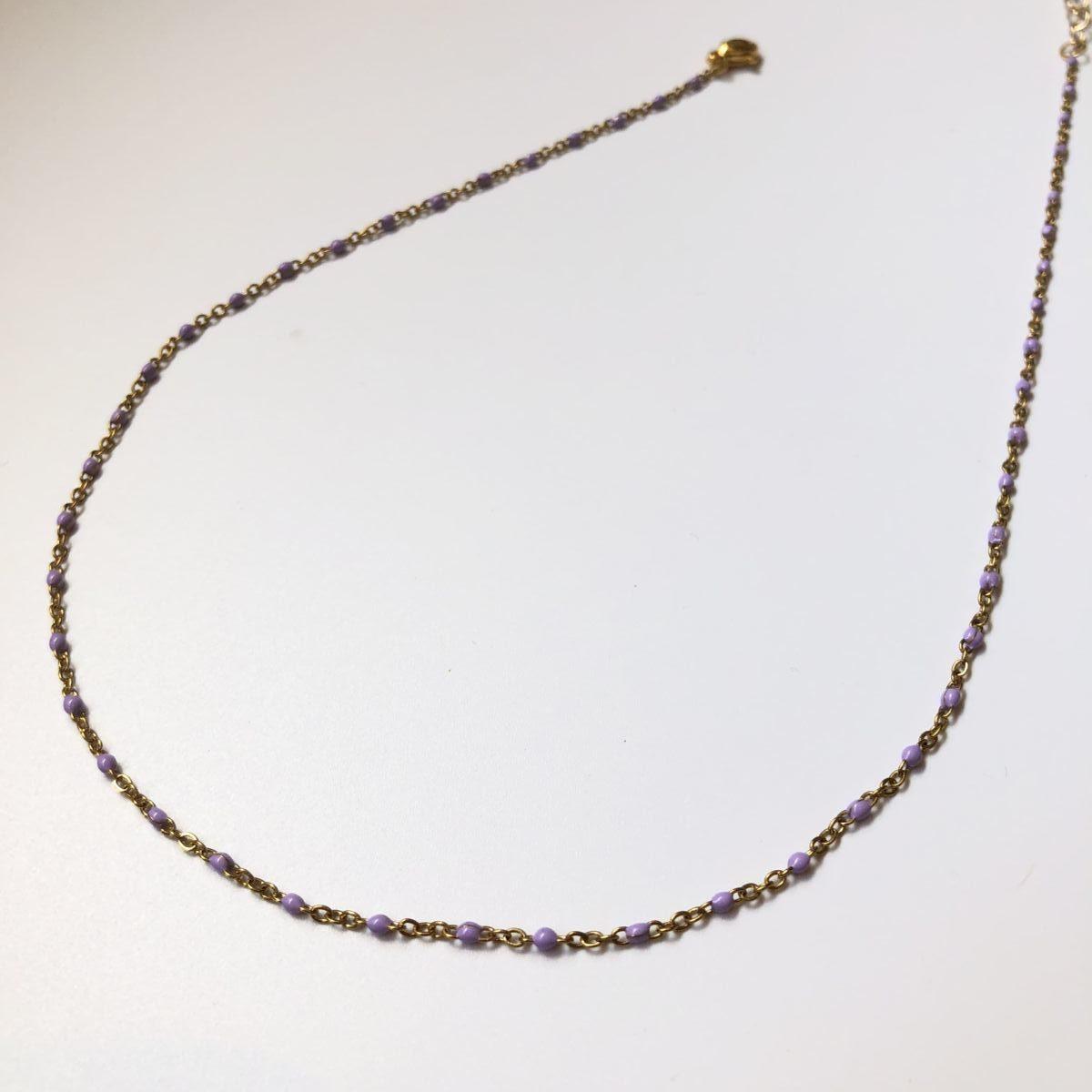 collier chaine dorée mini perles parme by destele