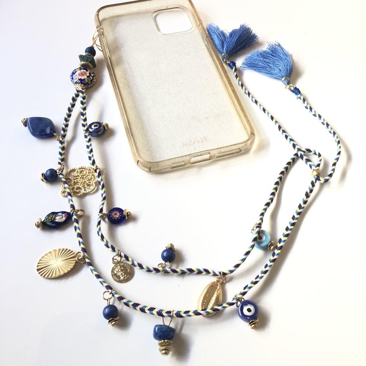 bijou grigri bleu cordon téléphone long by destele