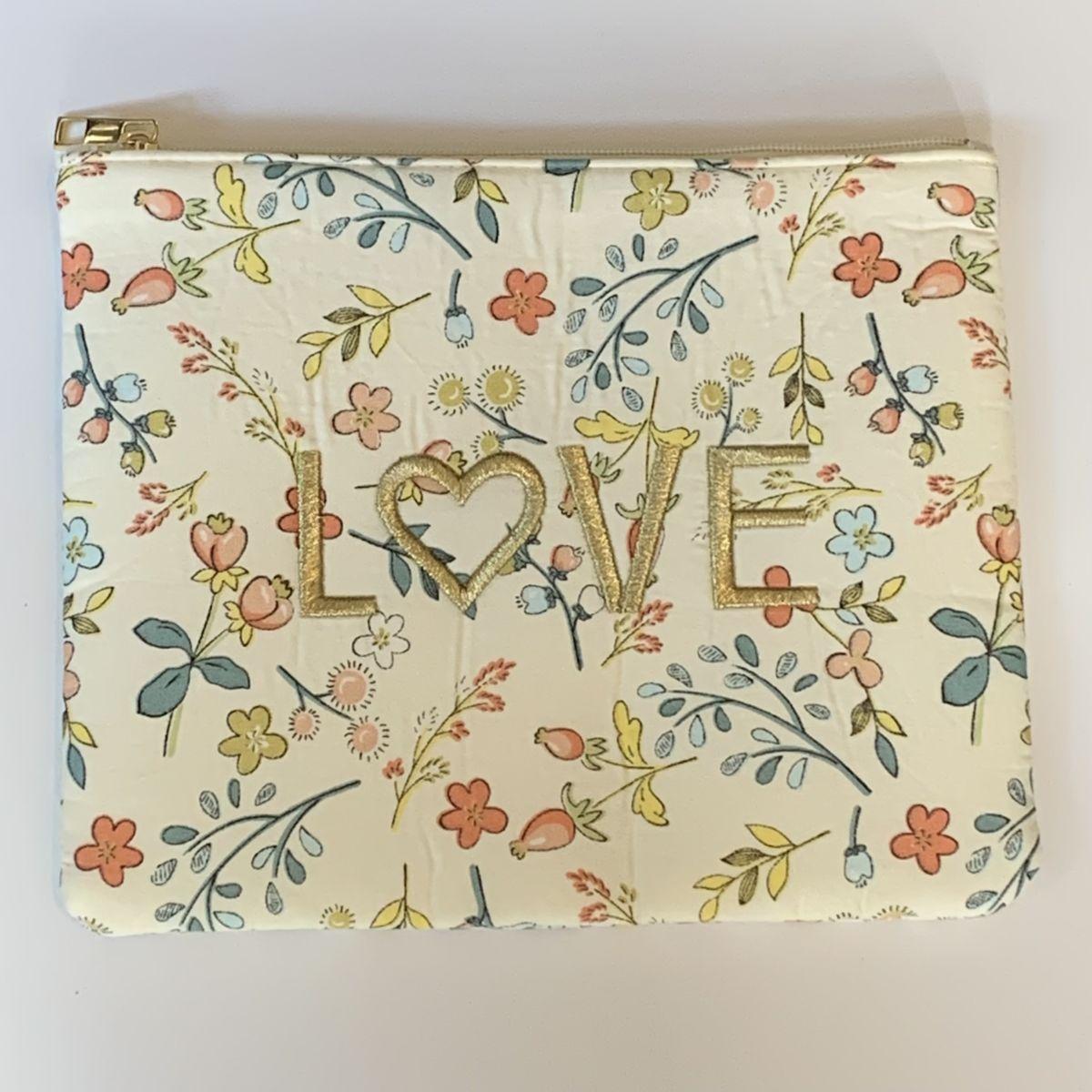 by destele pochette message love imprimé fleurs