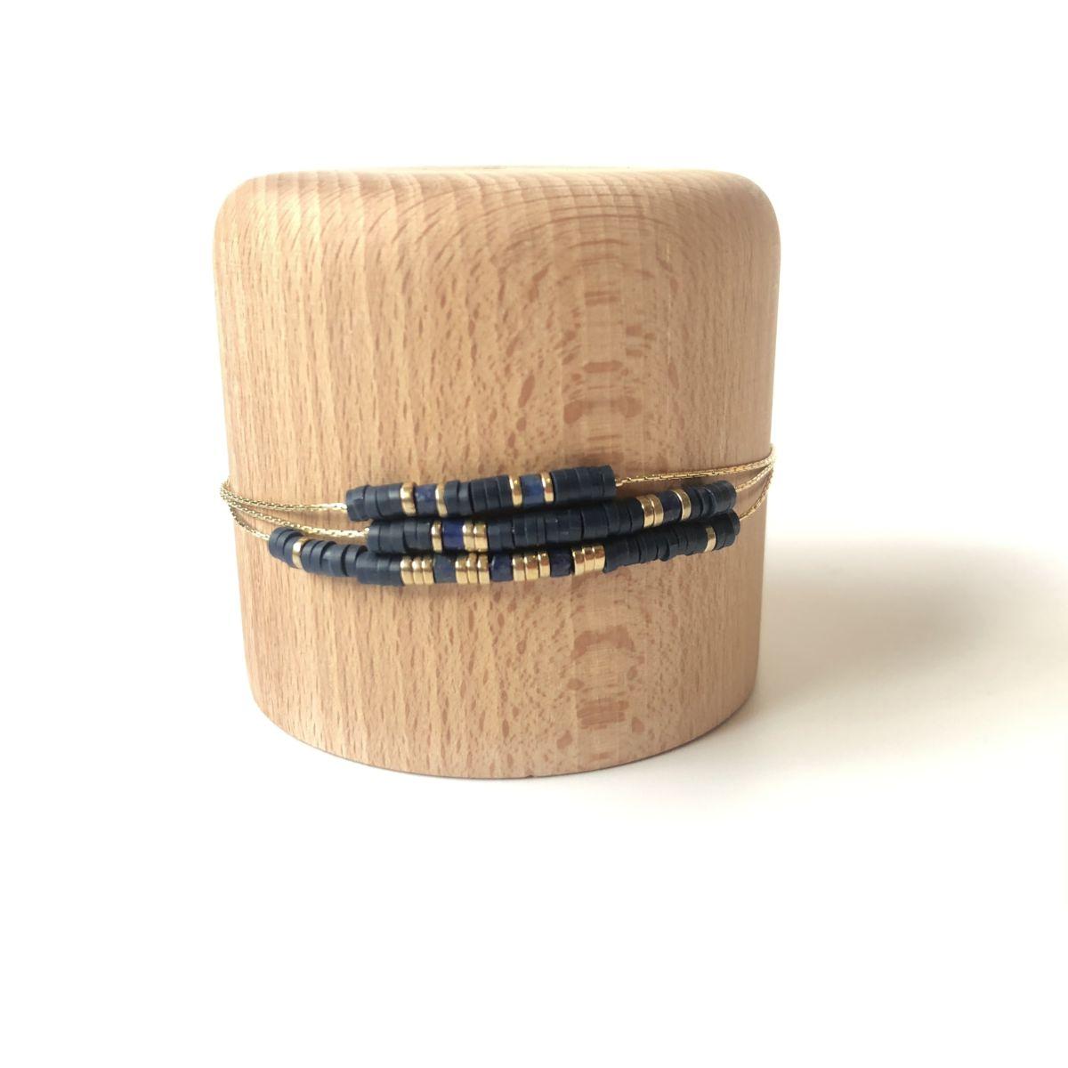 bracelet bleu marine large 3 rangs chaine dorée by destele