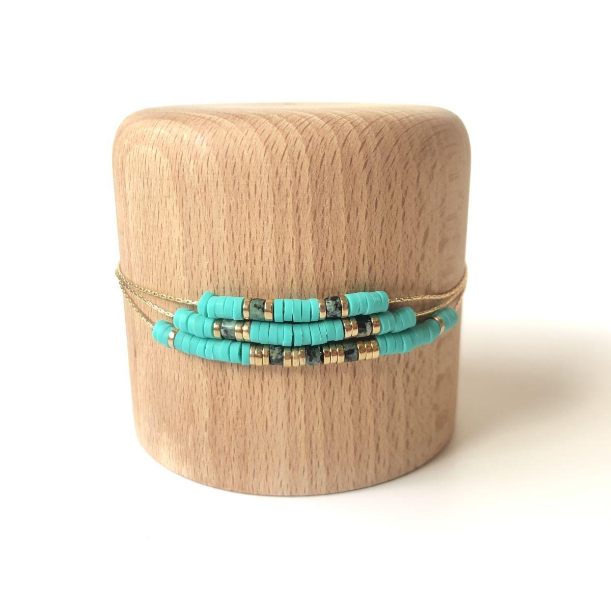 bracelet turquoise large 3 rangs chaine dorée by destele