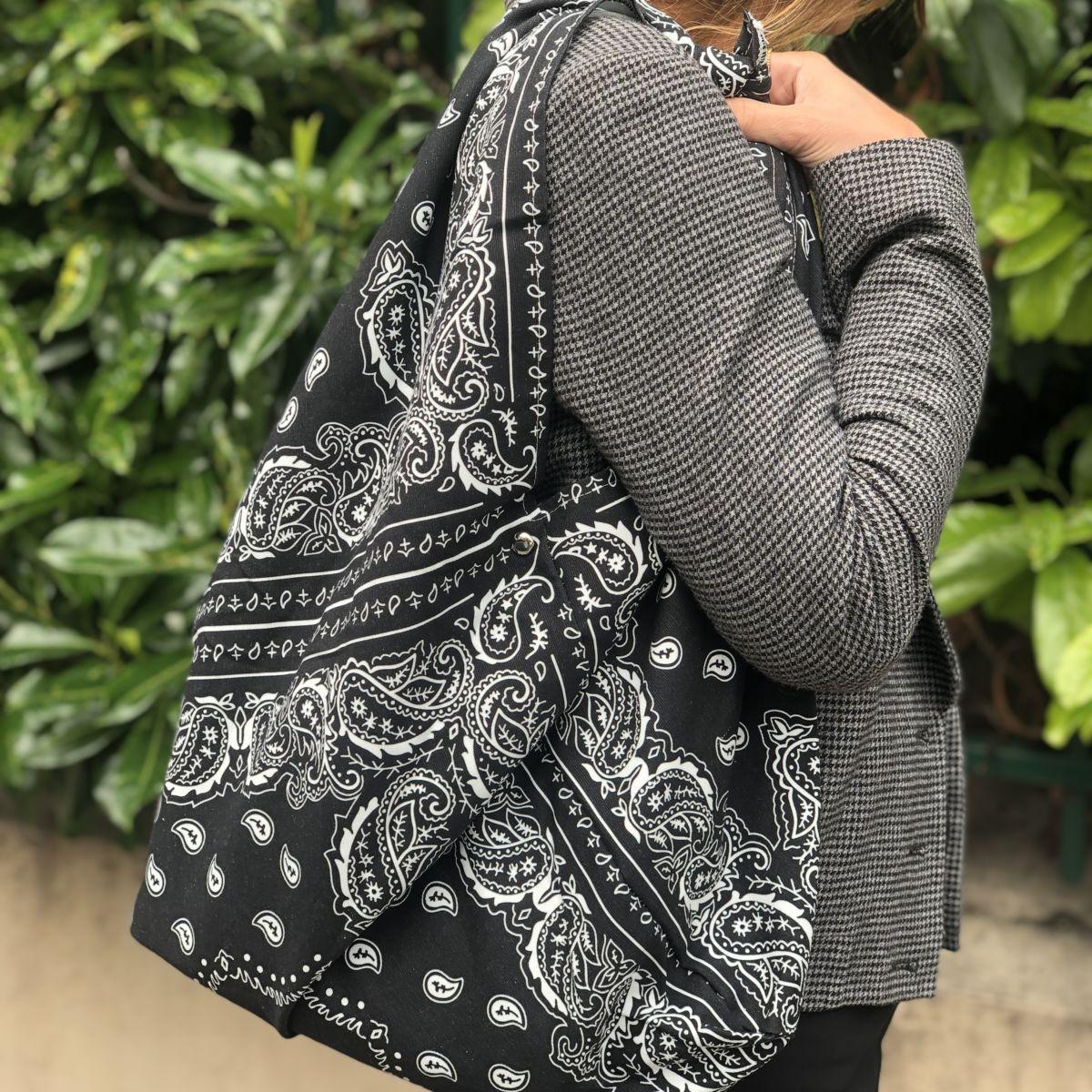 sac cabas bandana xl grand modèle noir by destele