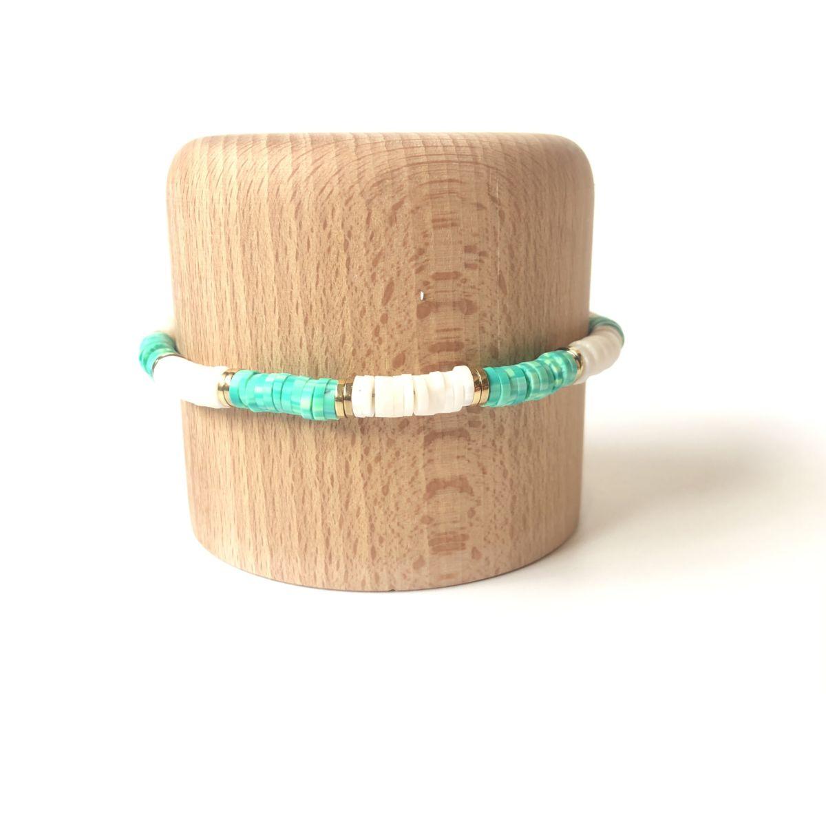 bracelet surfeur blanc et turquoise by destele