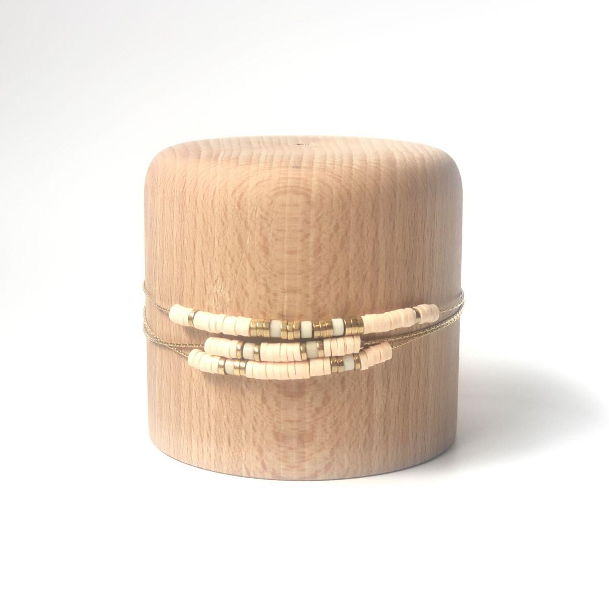 bracelet écru large 3 rangs chaine dorée by destele