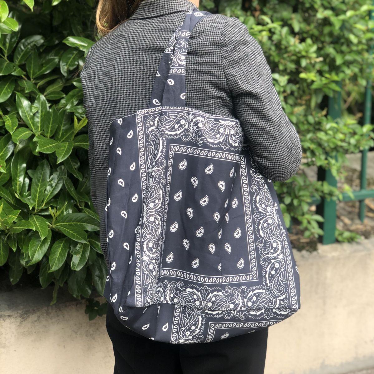 sac cabas xl grand modèle bandana noir by destele