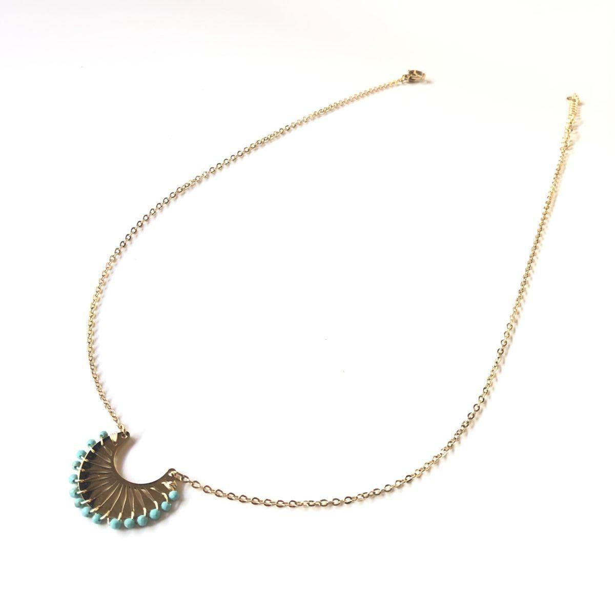 collier chaine pendentif ras du cou doré et turquoise by destele