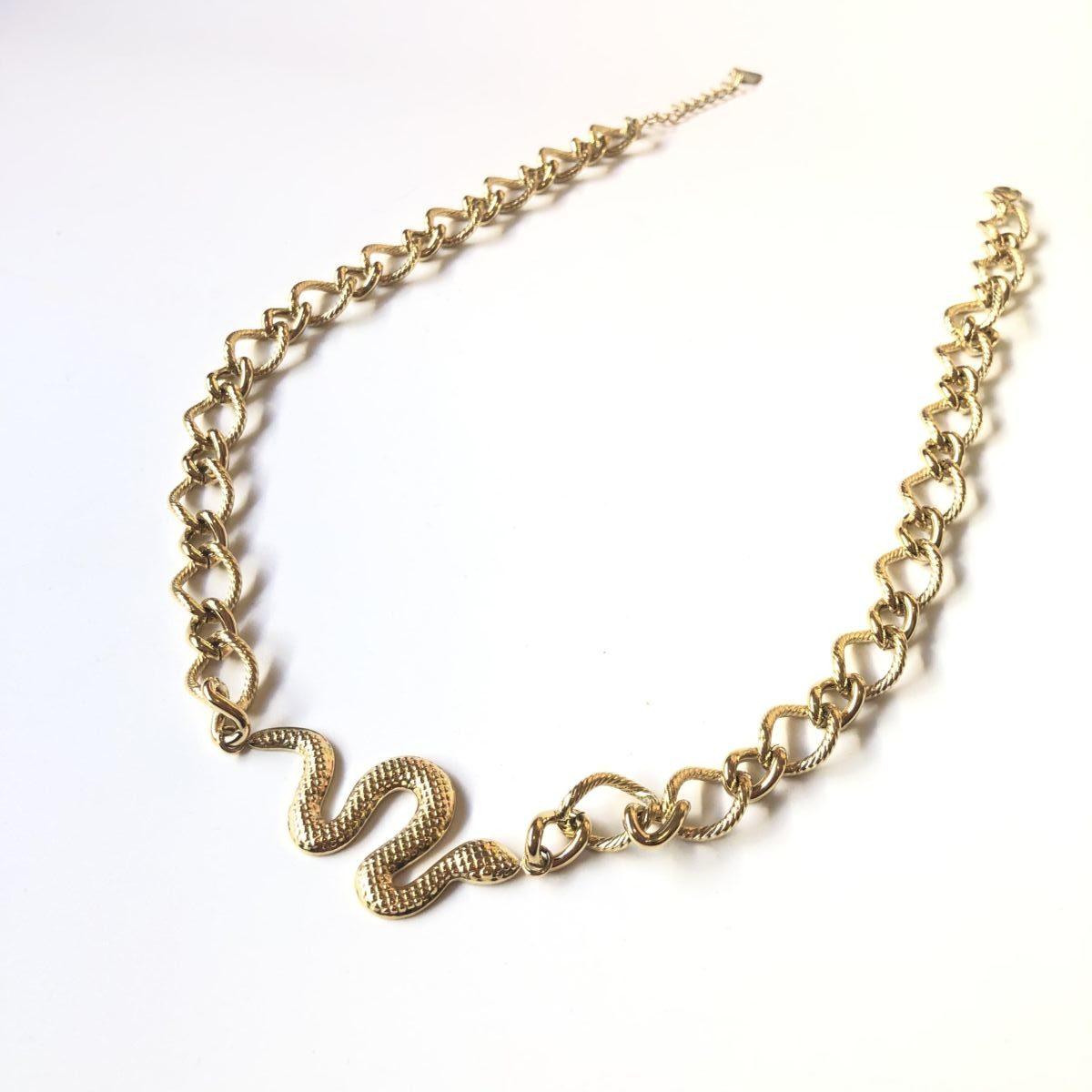 collier grosse chaine gros maillons dorée pendentif serpent by destele