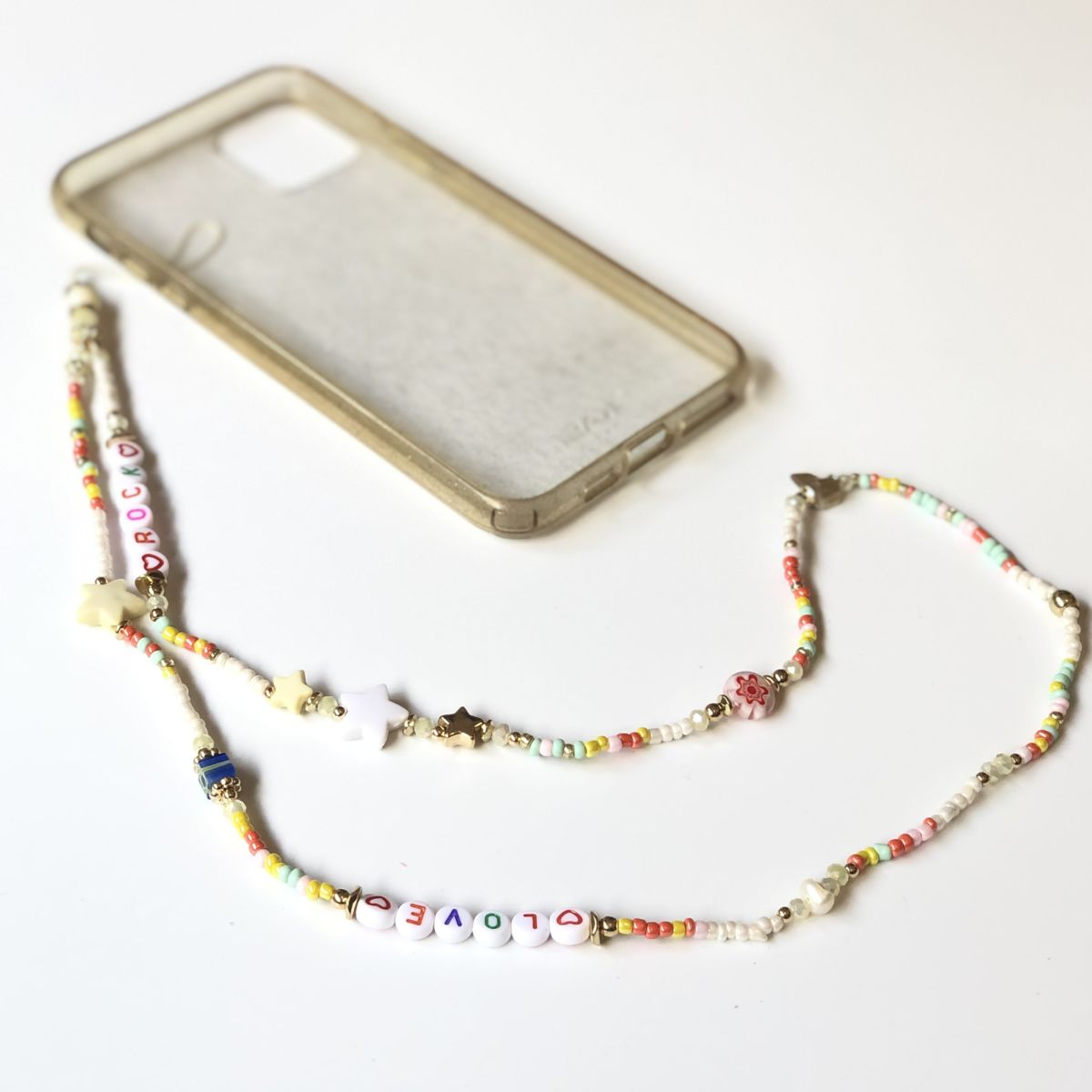 bijou téléphone blanc message love cordon long by destele