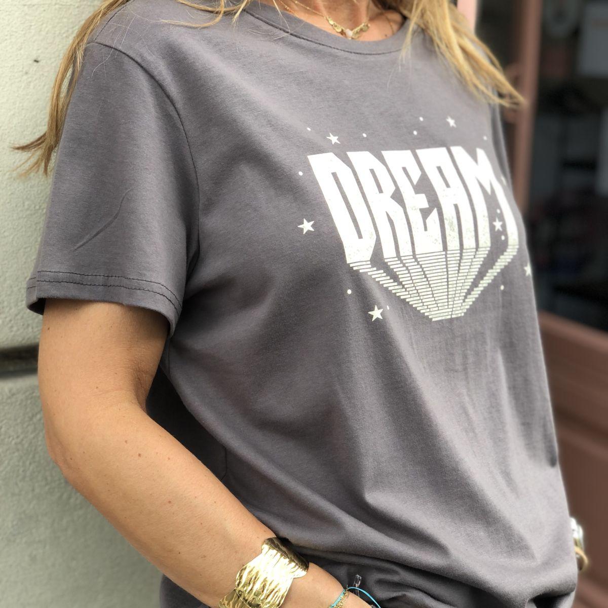 tee-shirt gris message dream blanc col rond manches courtes by destele