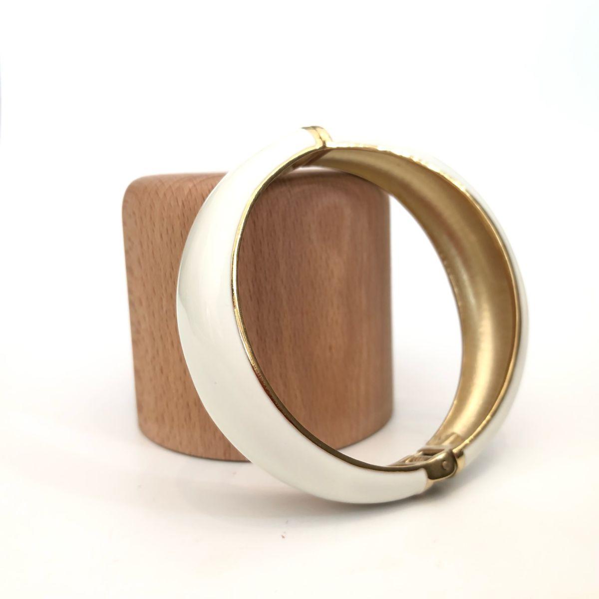 bracelet jonc blanc et doré by destele