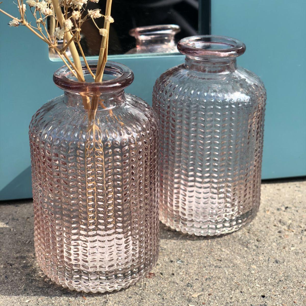 petit vase soliflore en verre rose by destele
