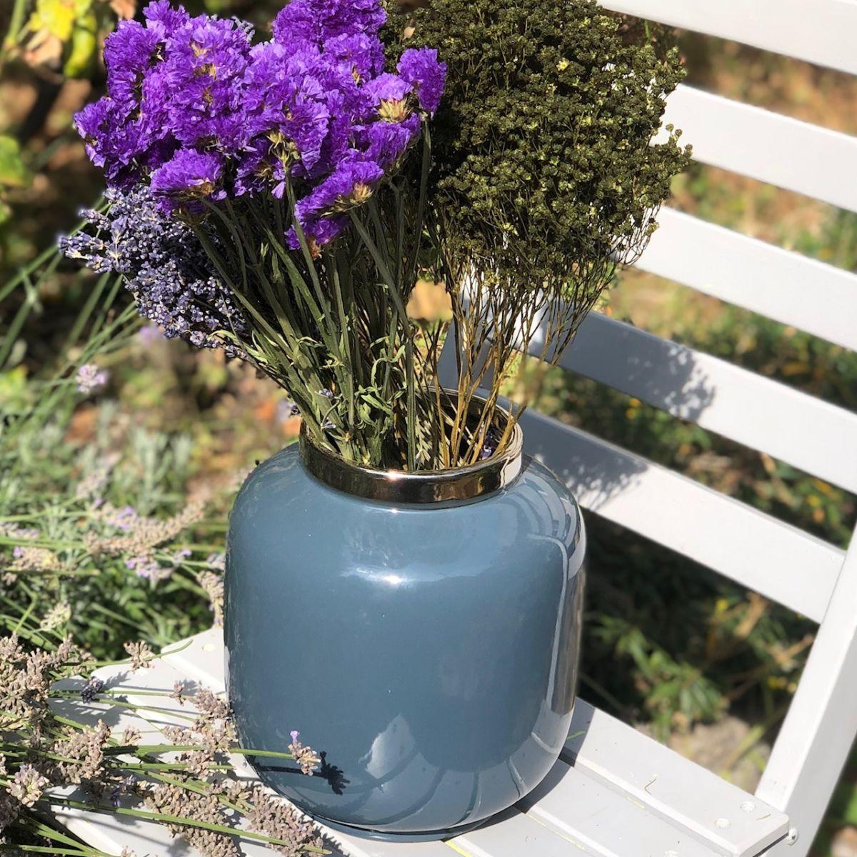 vase bleu gris by destele