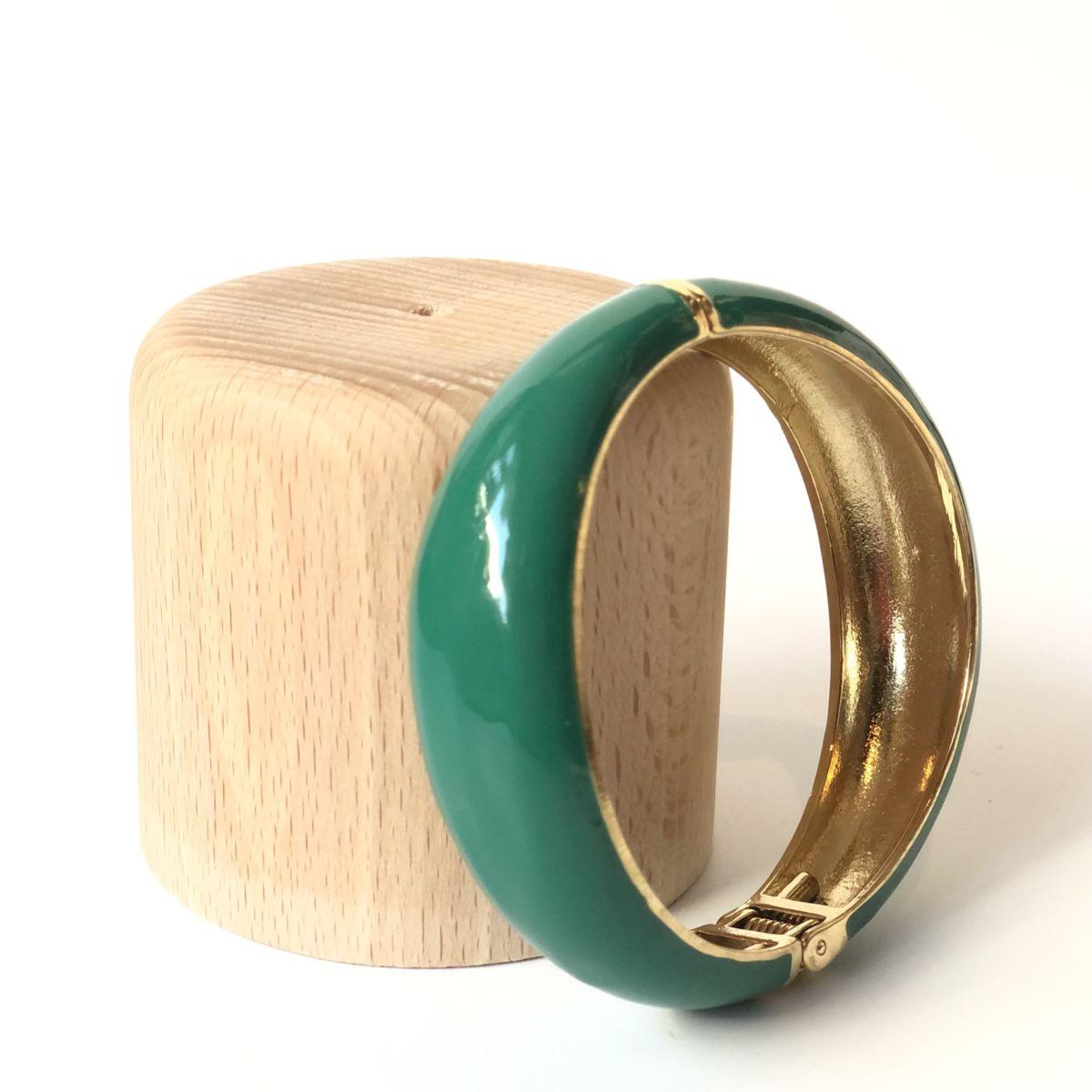 By Destele bracelet jonc vert et doré