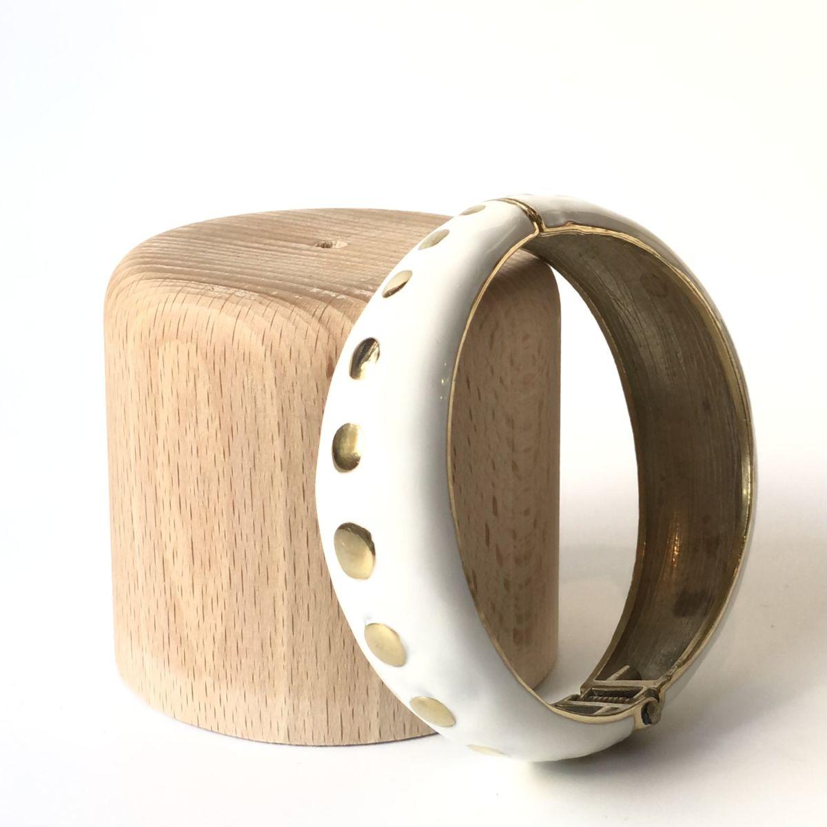 By Destele bracelet jonc blanc et doré
