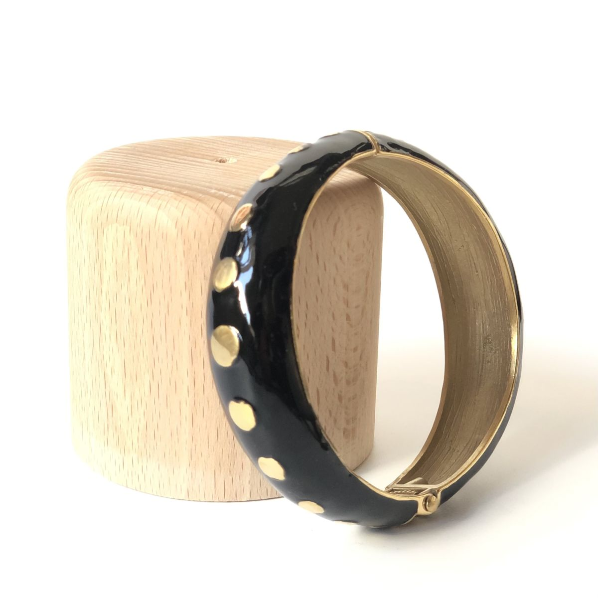 By Destele bracelet jonc noir et doré