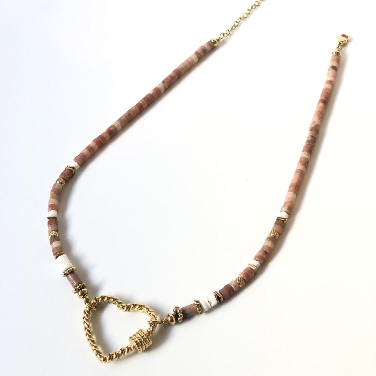 By Destele collier perles et coeur doré
