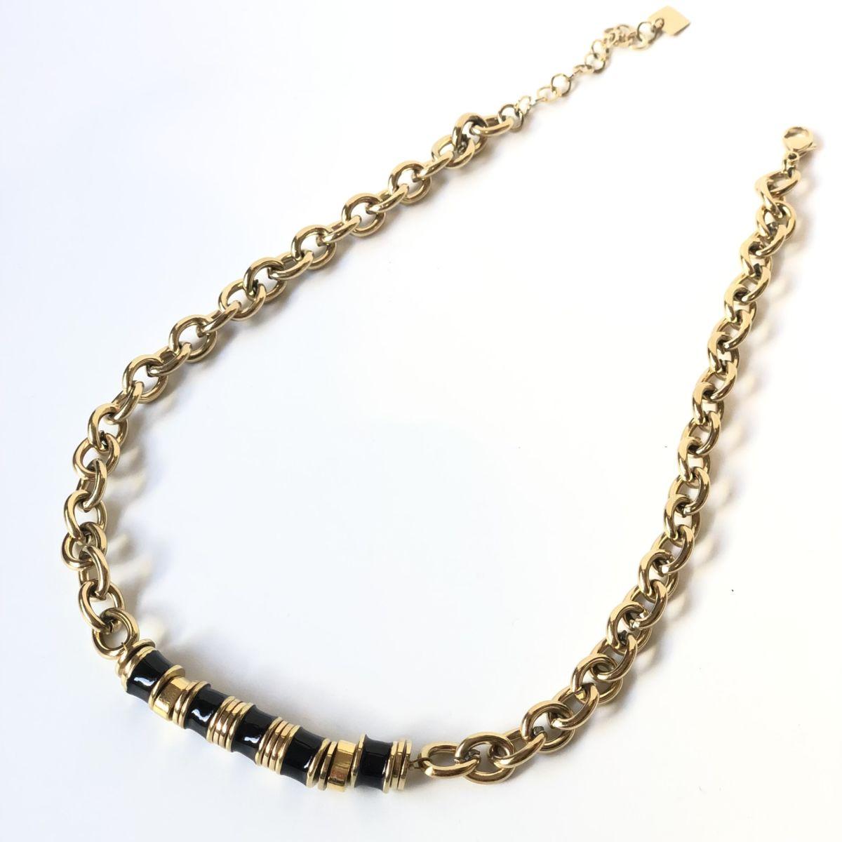 By Destele collier grosse maille et perles noires