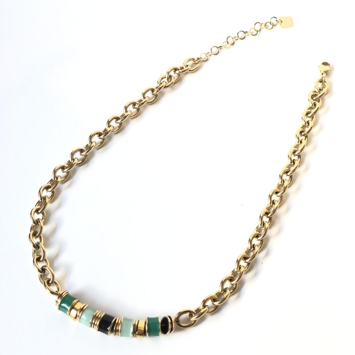 By Destele collier grosse maille et perles vertes