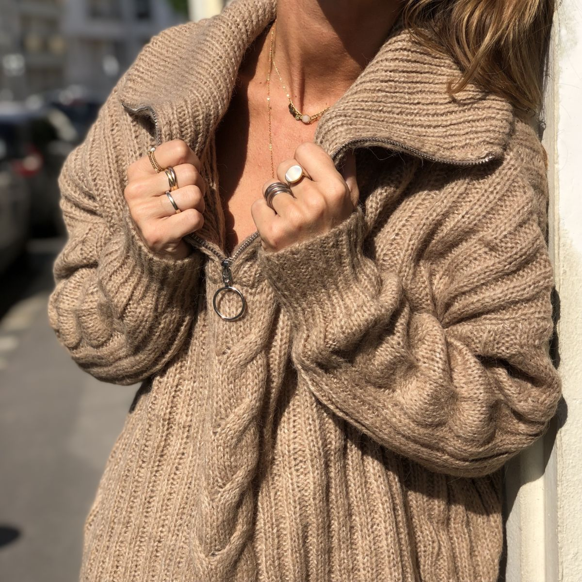Pull camionneur camel grosse maille by Destele