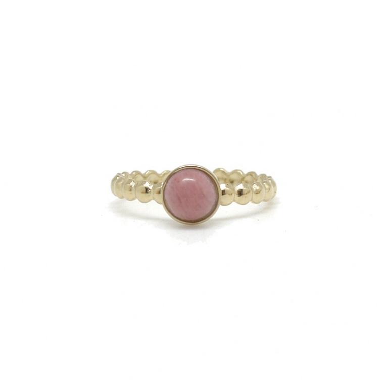 By Destele bague acier inoxydable pierre opale rose adaptable