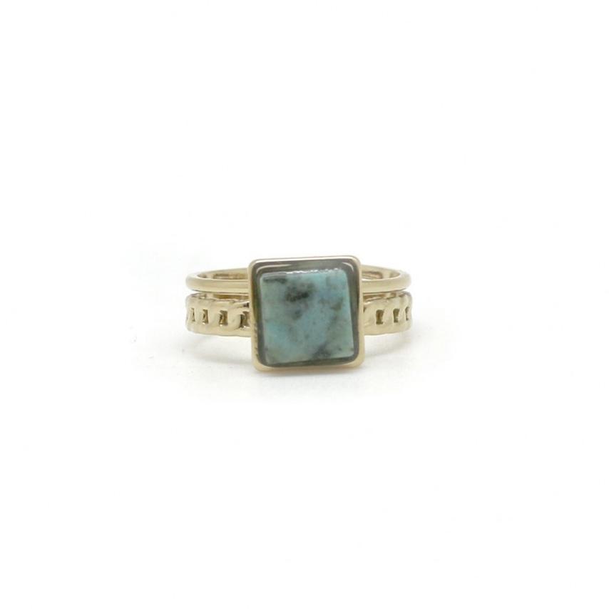 By Destele bague dorée en acier inoxydable pierre turquoise africaine adaptable